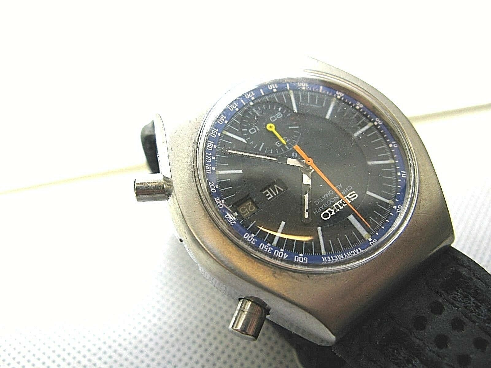 SEIKO VINTAGE 6139-7002 AUTOMATIC CHRONOGRAPH COMPLETE SERVICED sports band image 5