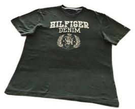 Vintage Tommy Hilfiger Appliqué Embroidered Denim Green T-shirt Medium - $16.00