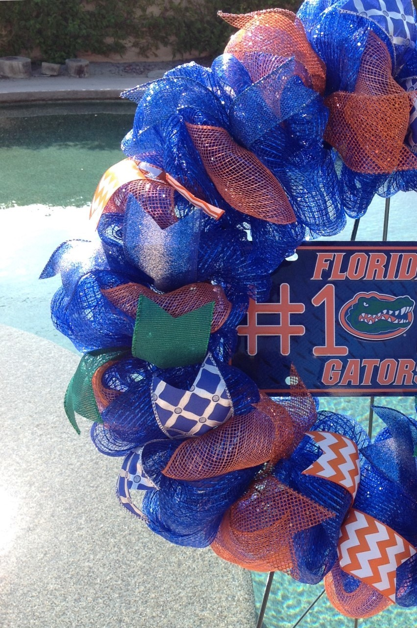 Ncaa Florida Gators Deco Mesh Wreath Home Indoor Room Outdoor Decor Handmade New
