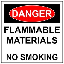 Danger Flammable Materials No Smoking Aluminum Metal Safety Warning UV Sign - $36.15+