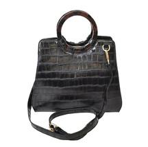 Women's Embossed Faux Crocodile Pattern Handbag Vegan Textured Leather Purse image 2