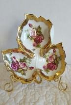 Vintage Norcrest Leaf Shape Rose Theme Gold Trim with Divider Ship Fast - $19.99