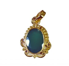 Green onyx Copper Pendant L-1.2in lovesome Green gemstone AU gift - $7.06