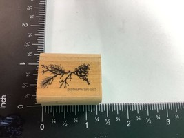 Stampin Up Rubber 1997 Pine Tree Bough with Pine Cones Christmas Small Preowned - $1.99