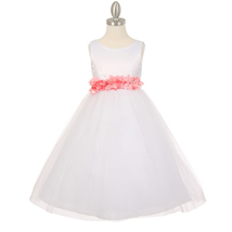 White Satin Bodice Layers Tulle Skirt Pink Petals Ribbon Sash Flower Gir... - $42.99+