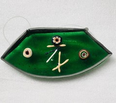 """Vintage Green Fused Glass Christmas Ornament 3"""" 1970s Fused Glass Window... - $11.95"""