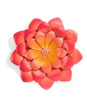 Calypso Orange & Pink Flower Metal Wall Decor Plaque