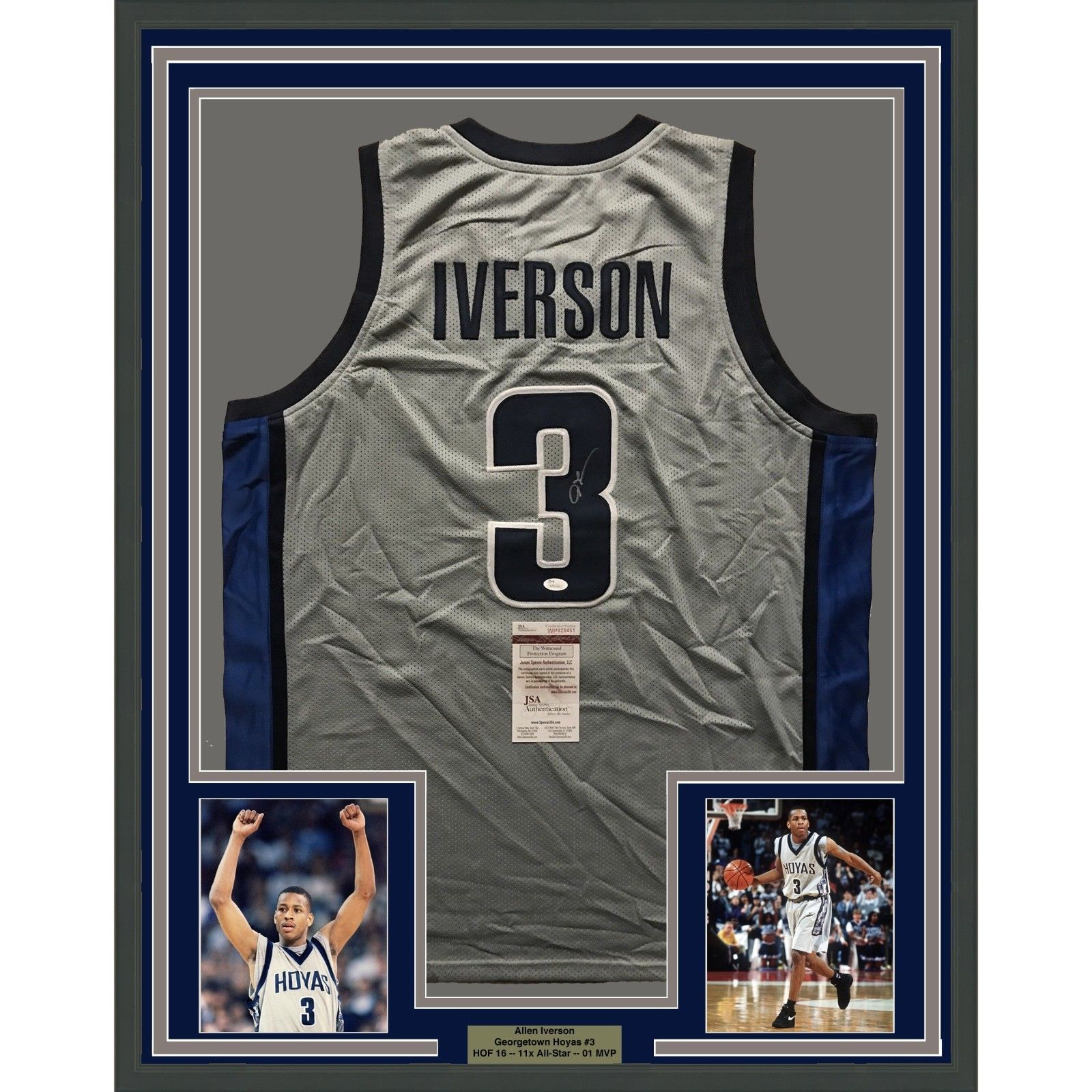 26d3f10dd83 S l1600. S l1600. Previous. FRAMED Autographed/Signed ALLEN IVERSON 33x42  Georgetown Grey Jersey JSA COA