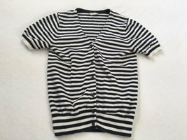 Crewcuts J Crew Girls 12 Navy Blue White Stripe Button Front Cardigan Sw... - $8.99