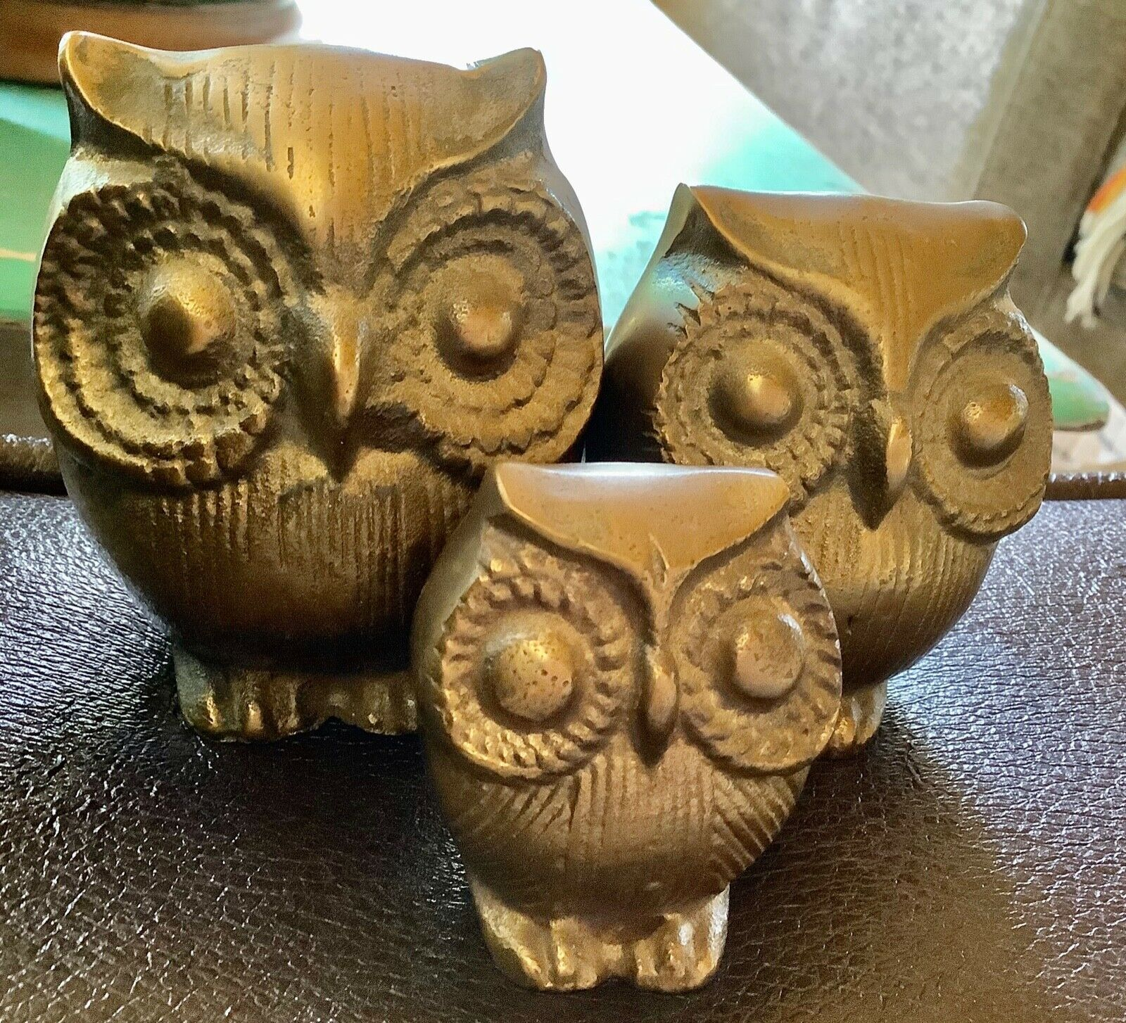 Primary image for Vintage MCM Brass Owl Set of 3 Paperweight Figurines Bird Mid Century Sculpture
