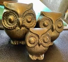 Vintage MCM Brass Owl Set of 3 Paperweight Figurines Bird Mid Century Sc... - $39.59