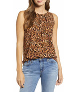 Loveappella Leopard Print Pleat Neck Tank Top, Size XS - NWT $45 - $20.56