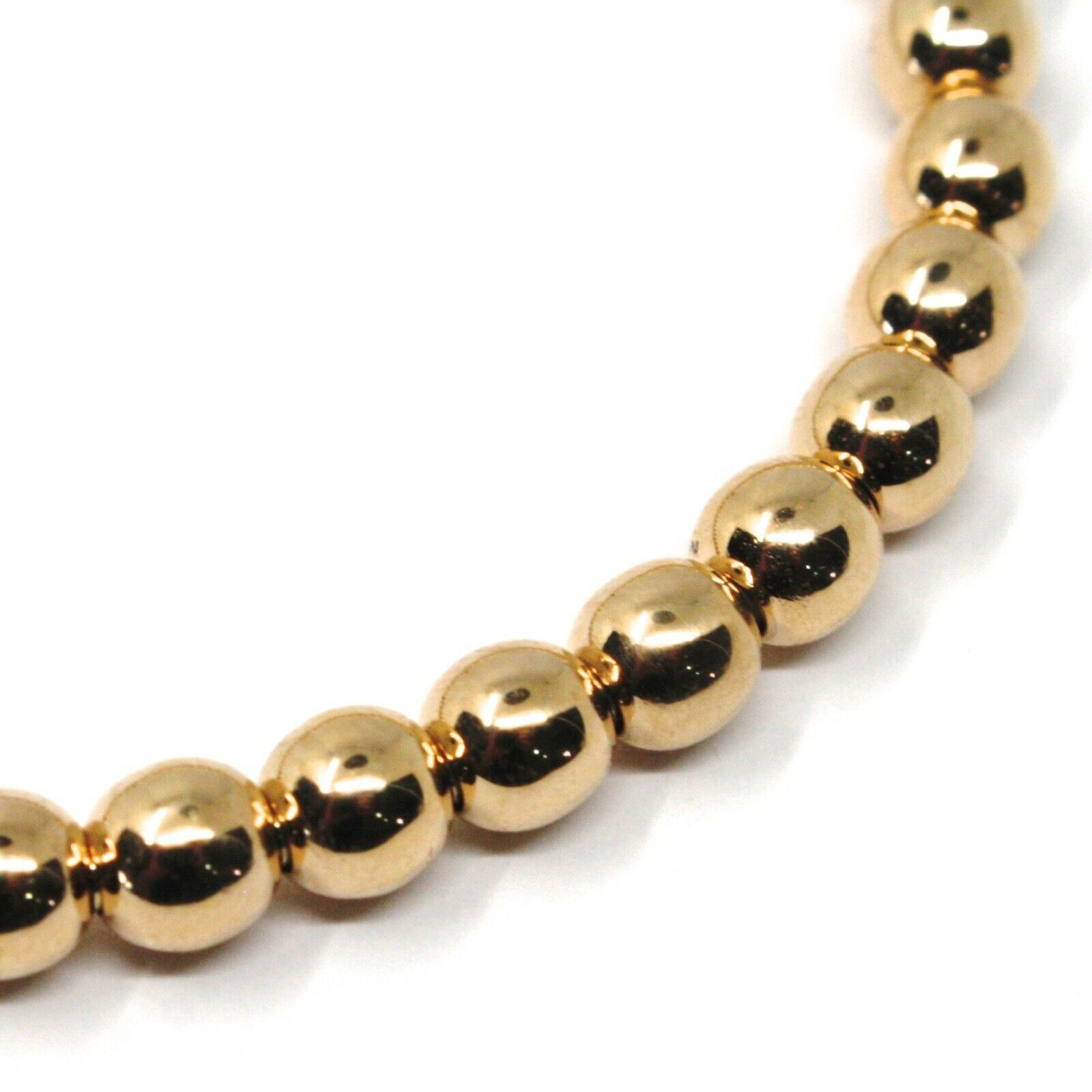 18K ROSE GOLD BRACELET, SEMIRIGID, ELASTIC, BIG 5 MM SMOOTH BALLS SPHERES