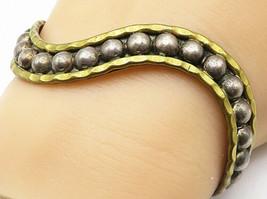 925 Silver - Vintage Two Tone Wavy Ball Bead Designed Cuff Bracelet - B4569 - $71.26