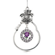 Inspired Silver Pansy Flower Circle Snowman Holiday Christmas Tree Ornament With - €12,73 EUR
