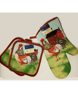 ROOSTER OVEN MITT POTHOLDERS 3-pc Set Farmhouse Red Barn Kitchen Pot Holder - $7.99