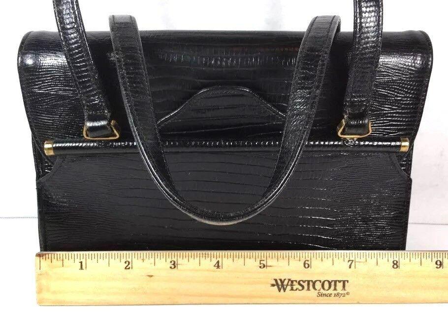 Triangle New York True Vtg Small Petite Black Faux Leather Reptile Print Handbag