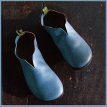Scandinavian Norwegien Comfortable Soft Leather Slip On Blue Viking Turn... - $89.95