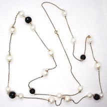 SILVER 925 NECKLACE PINK, ONYX BLACK, PEARLS, LONG 130 CM, CHAIN ROLO', 2 TURNS image 4