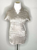 Komarov Womens V-Neck Wrap Blouse Silver Pleated Top Sheer Shoulders Sz M - $22.95