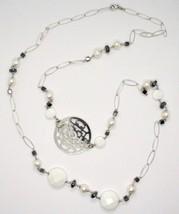 Lange Halskette 1 MT aus Silber 925 mit Hämatit Achat und Perlen Made in Italien image 1