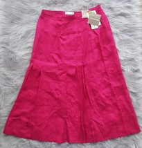 Jones New York Womens Sz 8 Fuchsia Pink 100% Linen Boho Pleated Knee Len... - $14.01