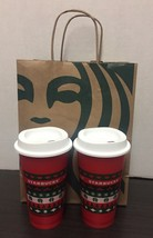 2 Starbucks 2020 Reusable Hot Cups Grande 16oz Red Green Holiday - $23.36