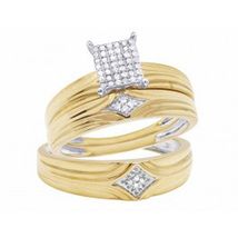 "1Carat Sim Diamond Men's-Women""s Trio Engagement Ring Set 14K Yellow Gold Over  - $99.99"