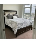 Pottery Barn Pippa Floral Charcoal Grey White 3-PC Full/Queen Duvet Cove... - $125.00
