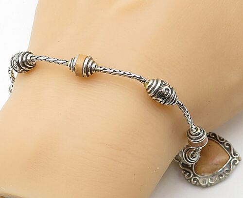 925 Sterling Silver - Vintage Leather Detailed Love Heart Chain Bracelet - B5645