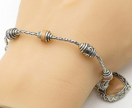 925 Sterling Silver - Vintage Leather Detailed Love Heart Chain Bracelet... - $67.41
