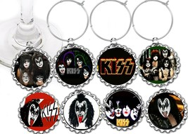Kiss Music Band  party theme wine glass cup charms markers 8 party favors - $9.75