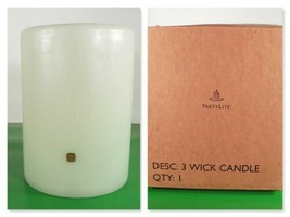 Partylite S68 Pillar Candle 6x8 inch HONEYDEW Green Unused in Box 3-wick - $108.85