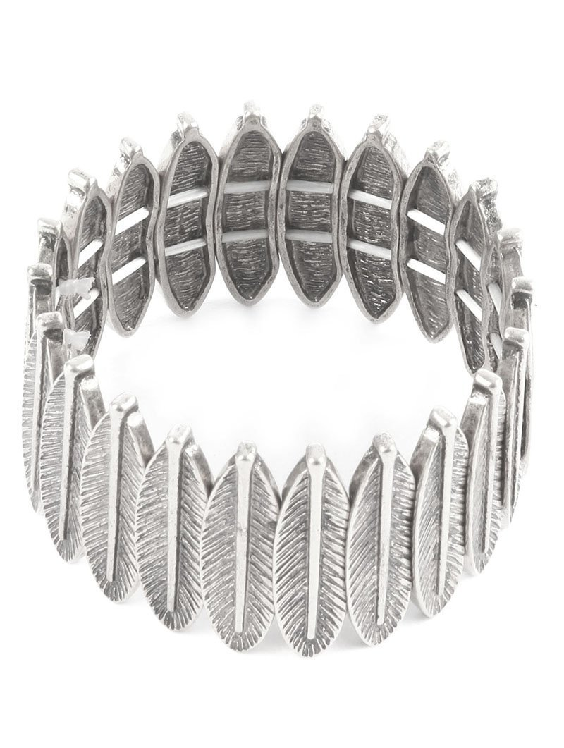 Textured Feather Stretch Bracelet Feathers (Silver-Tone)