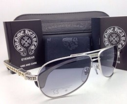 CHROME HEARTS Sunglasses BABY BEAST SS-WTEB Silver-White Ebony Wood w/Grey Fade