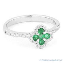 0.42ct Emerald Diamond Cluster Right-Hand Flower Promise Ring in 14k Whi... - £669.06 GBP