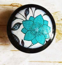 Blue Deco Flower Knob Drawer Pulls, Handmade Floral Cabinet Pull Handles - $5.94