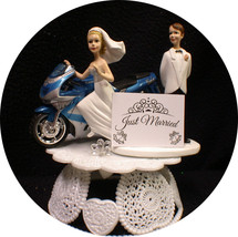 Kawasaki blue NINJA Motorcycle Wedding Cake Topper Bike Funny Groom Top ONLY 1 - $49.40