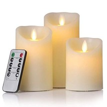 Flickering Flameless Candles, Set of 3 Real Lvory Wax Pillar Large Candl... - $15.09