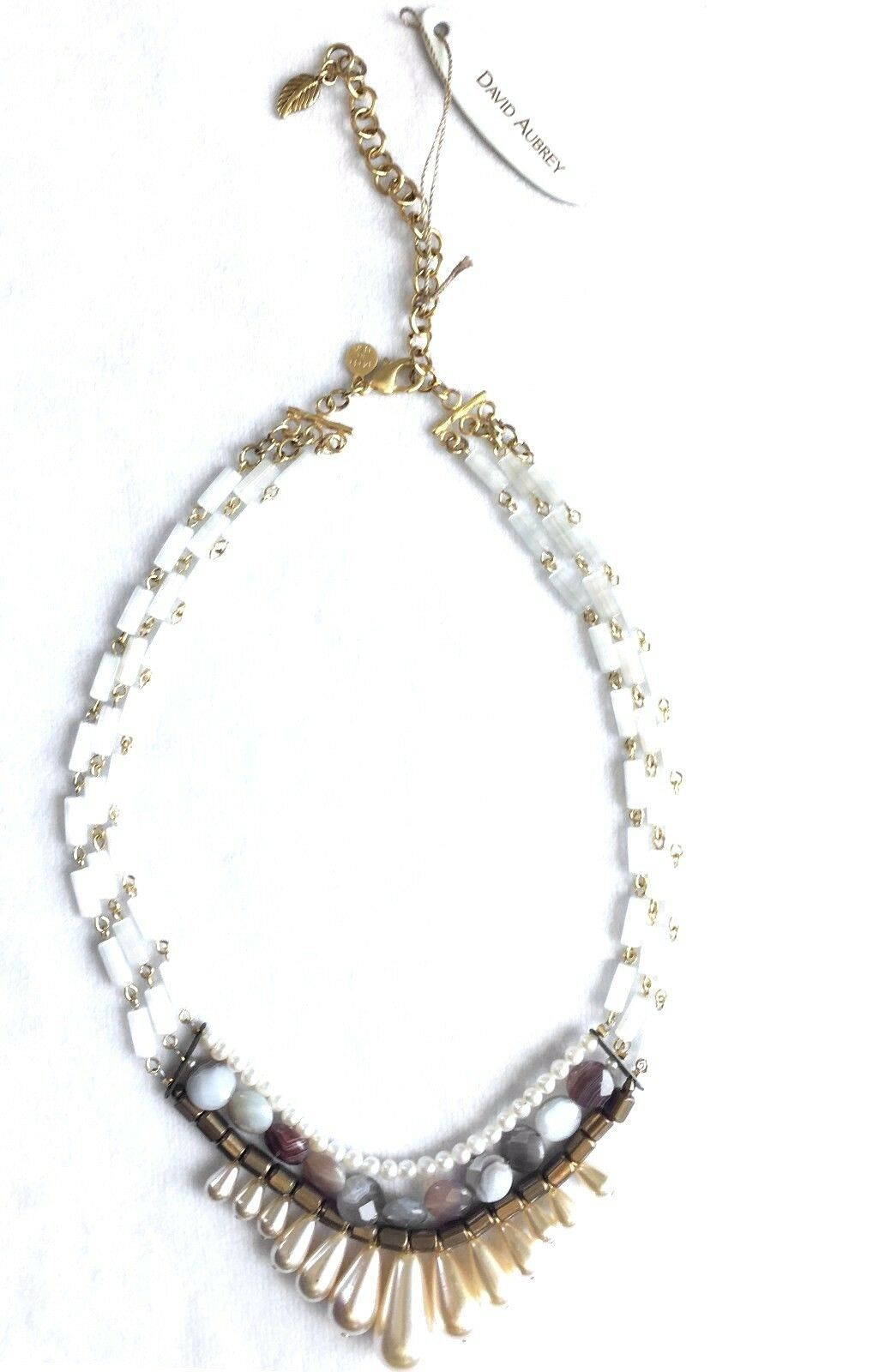 David Aubrey Hadrien Multi-Strand & Stones Simulated Pearl Statement Necklace