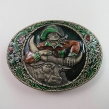 Indiana Metal Craft Cowboy & Bull Rodeo Western Cattle Painted Belt Buckle - $14.84