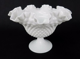 Fenton Hobnail Milk Glass Compote, Large Ruffled Edge Vintage Farm House... - $16.61