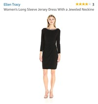 ELLEN TRACY 3 WOMEN'S LONG SLEEVE JERSEY DRESS WITH A JEWELED NECKLINE - $13.09