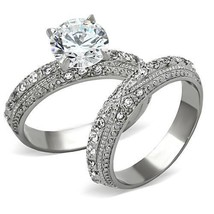 Women's 3.35 CT Stainless Steel CZ Engagement Ring & Wedding Ring Set SI... - $21.49