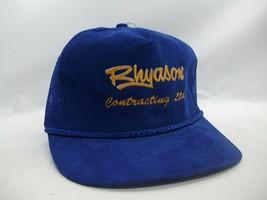 Rhyason Contracting Hat Vintage Blue Corduroy Snapback Trucker Cap - $19.99