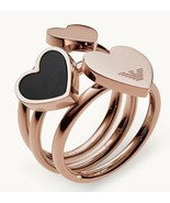 Emporio Armani Heart Rose Gold-Tone S/Steel Stackable Rings, Size 8 BNWT... - $89.75