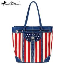 Montana West American Flag Canvas and PU Leather Tote image 1