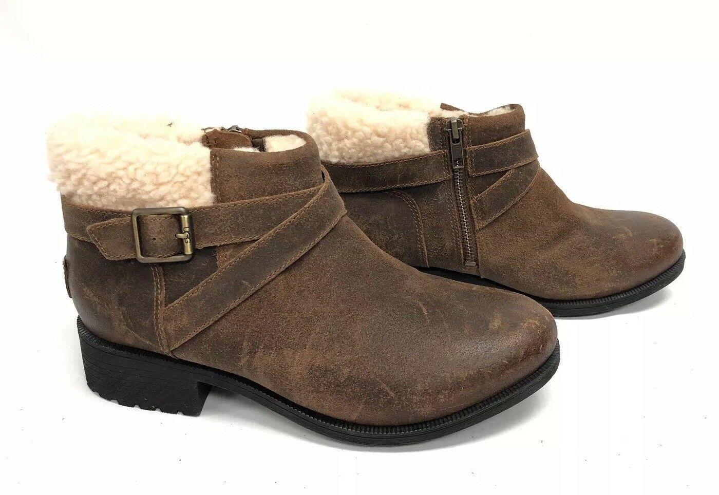 UGG Australia BENSON Buckle Sheepskin Ankle Booties 1095151 Chipmunk Waterproof