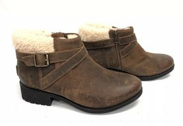 UGG Australia BENSON Buckle Sheepskin Ankle Booties 1095151 Chipmunk Waterproof image 1