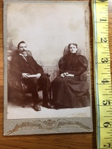 Cabinet Card Handsome Man with book & Lady with Flowers Ontario 1880's! - $9.00